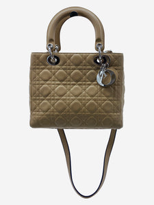 Tan quilted 'Lady Dior' pattern crossbody with silver accent