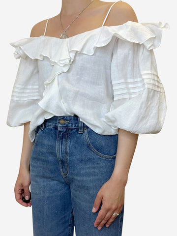 White cropped long sleeve cold shoulder top with ruffle - size S