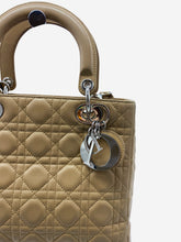 Load image into Gallery viewer, Tan quilted 'Lady Dior' pattern crossbody with silver accent