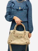 Load image into Gallery viewer, Beige & rose gold motorcycle medium crossbody bag