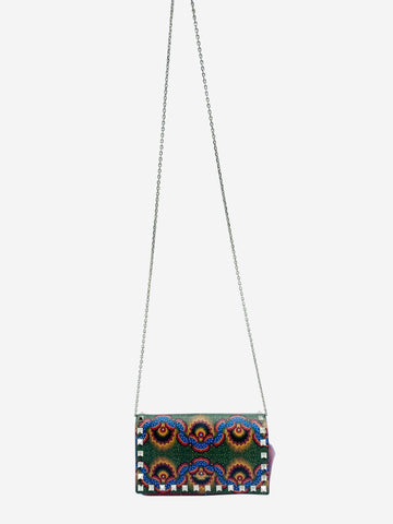Green and red patterned studded crossbody bag