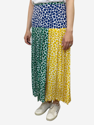 Multioloured print pleated midi skirt - size S