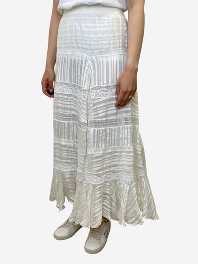 Off-white lace tiered maxi skirt - size L