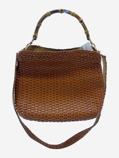 Tan woven bamboo leather top handle bag