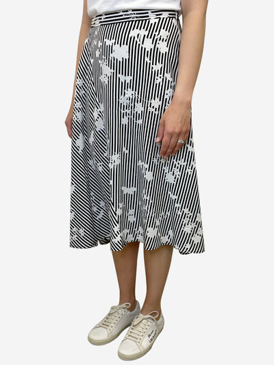 Black and white striped and floral print midi skirt - size UK 12