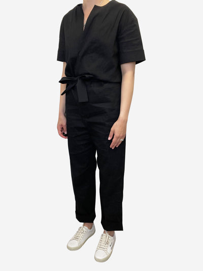 Black short sleeve waist tie jumpsuit - size UK 10