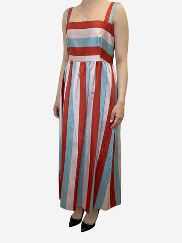 Multicoloured striped sleeveless midi dress - size UK 12