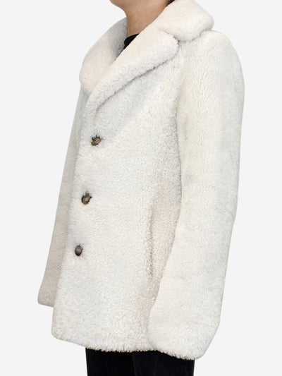 Cream triple button shearling coat - size FR 38