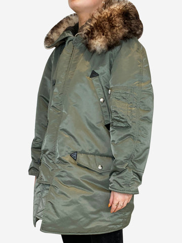 Green satin finish parka coat with fur hood- size XS