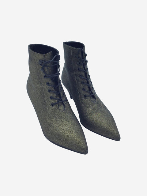 Saint Laurent Gold Lace-up Ankle Boots Size 3.5 RRP £500 Saint Laurent - Timpanys
