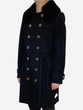 Load image into Gallery viewer, Black wool double breasted overcoat with fur collar- size UK 6