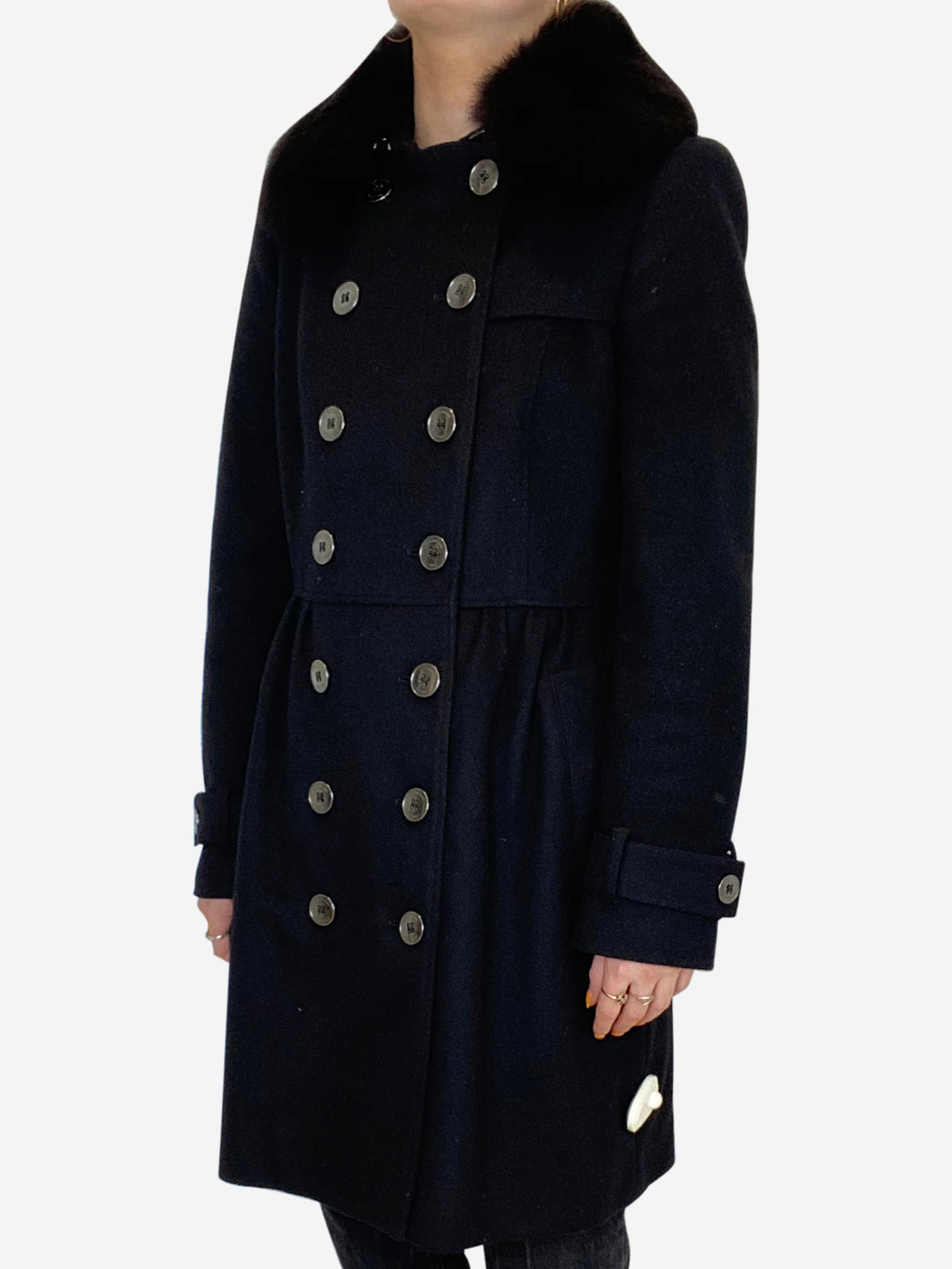 Black wool double breasted overcoat with fur collar- size UK 6