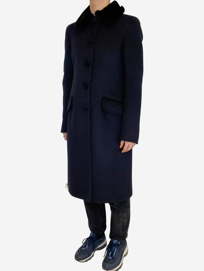 Navy wool coat with black mink collar- size UK 8