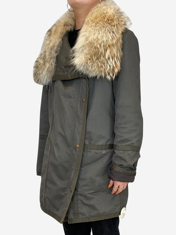 Grey-green parka with rabbit fur lining and coyote hood - size UK 10