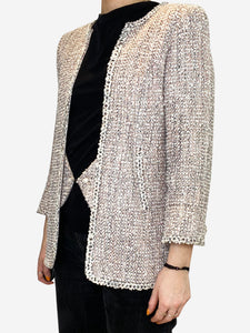 Grey and beige tweed jacket with faux waistcoat inster- size UK 8