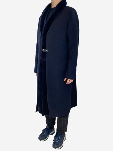 Navy felted wool and cashmere mid length coat with mink trim- size UK 12