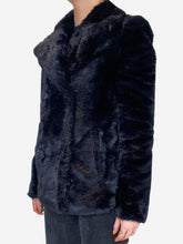 Load image into Gallery viewer, Black faux fur doublebreasted jacket- size UK 6