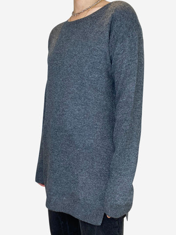 Grey wool and cashmere blend longline jumper- size UK 10