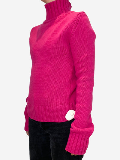 Hot pink knit roll neck sweater - size UK 10