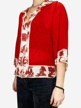 Load image into Gallery viewer, Red and beige silk button up blouse- size UK S
