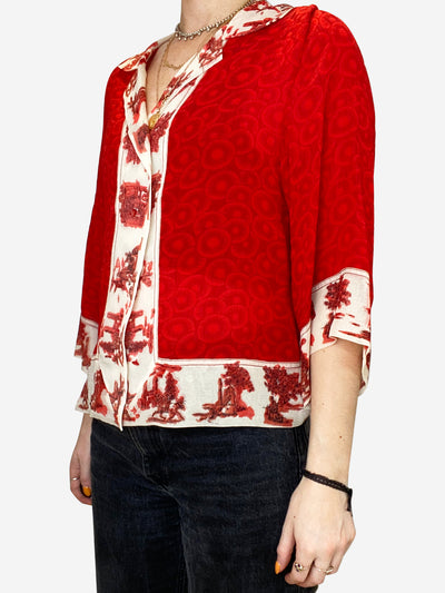 Red and beige silk button up blouse- size UK S