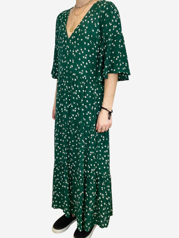Green floral daisy print tiered midi dress- size S