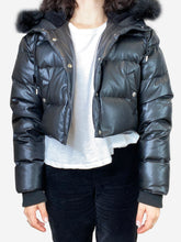 Load image into Gallery viewer, Black cropped faux leather puffer jacket with faux fur hood- size M