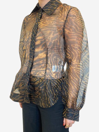Black & orange tiger print sheer shirt - size M