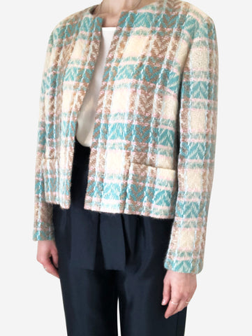 Cream & turquoise tweed jacket - size FR 40