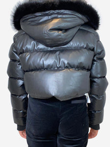 Black cropped faux leather puffer jacket with faux fur hood- size M