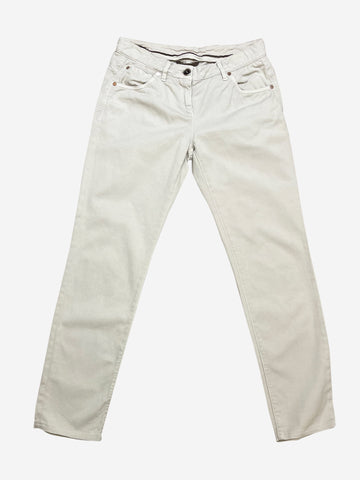 Cream cotton denim trousers - size UK 8