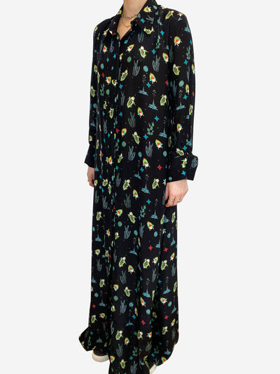 Black silk maxi dress with colored quirky print- size UK S