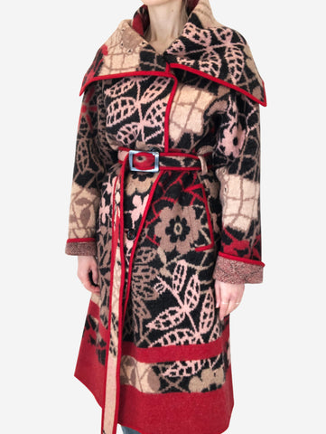 Red, beige, pink & black printed cardigan with belt - size S