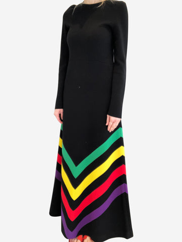 Black & multi chevron knitted maxi dress - size M