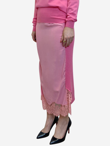 Hot pink lace trimmed midi skirt  - size IT 44