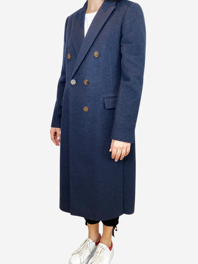 Navy wool double breasted coat with brown buttons- size UK 10