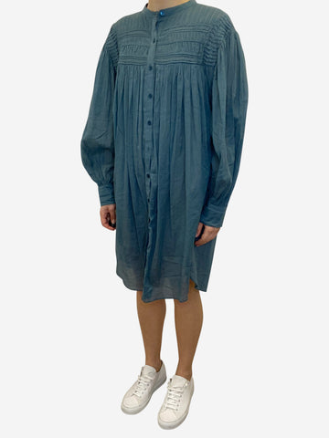 Teal button through shirt dress - size UK  8