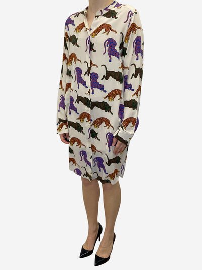 Cream silk cat print dress - size UK 14