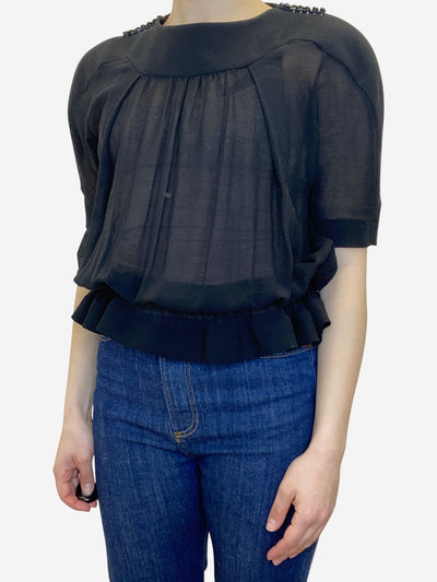 Black button shoulder sheer blouse - size UK 10