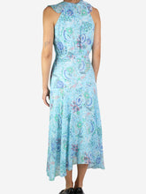 Load image into Gallery viewer, Metallic brocade lurex button through shirt - size UK 14