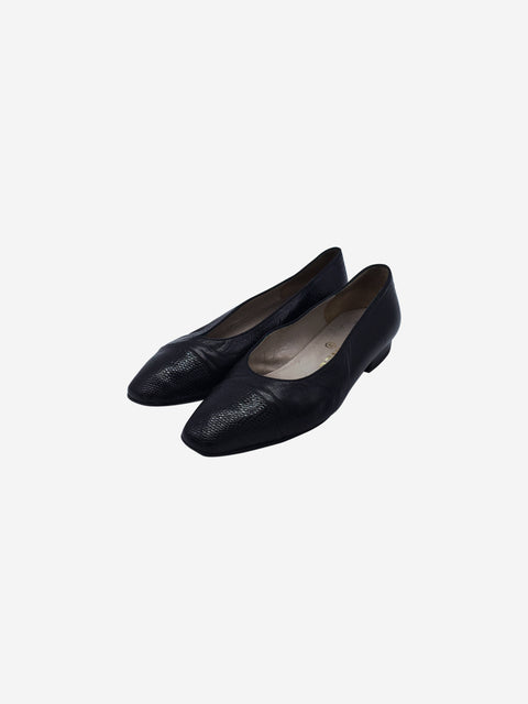 Chanel Black Leather Square Toe Ballet Flats Size 3 RRP £570 Chanel - Timpanys