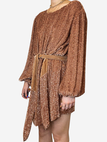 Rose gold belted sequin swing dress- size XS