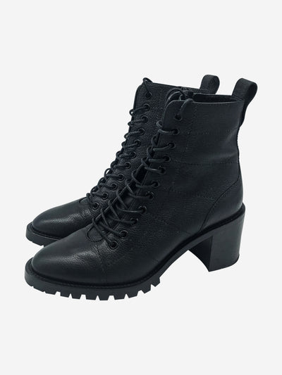 Black leather lace up boots with block heel - size EU 37.5