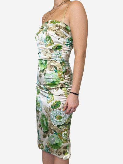 Green and cream floral satin stretch strapless midi dress- size UK 8