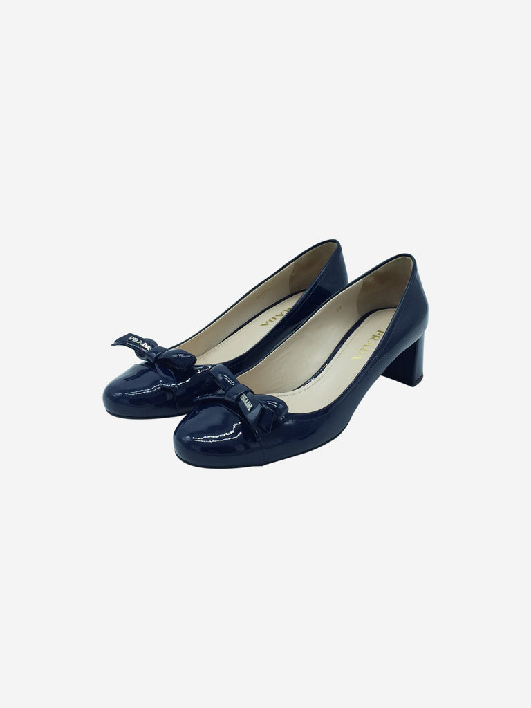 Prada Navy Patent Leather Court Shoes Size 6 RRP £545 Prada - Timpanys