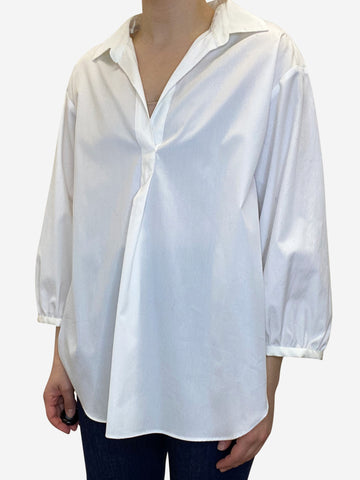 White oversized collared blouse - size L
