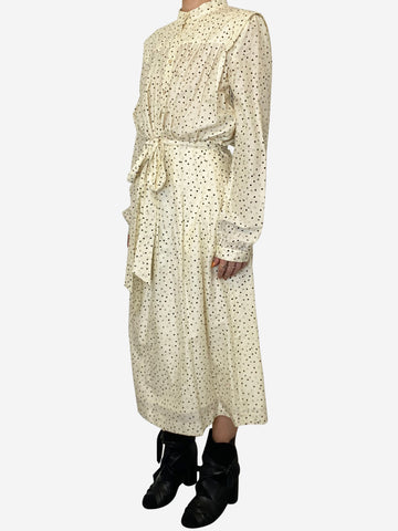 Cream and black polka dot belted midi dress - size UK 10
