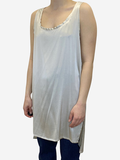 Stone coloured silk longline sleeveless tunic - size UK 10