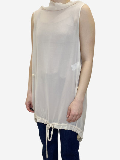 Cream sheer sleeveless silk tunic - size UK 10