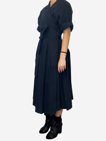Navy short sleeve wrap midi dress - size UK 14